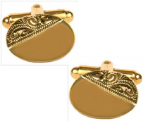 Dalaco 90-3003 Oval Third Engraved Design Gold Plate Cufflinks